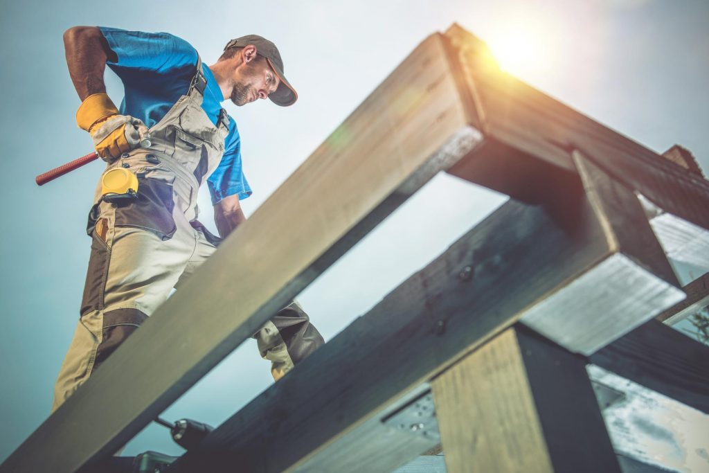 professional roofing contractor roofers during work