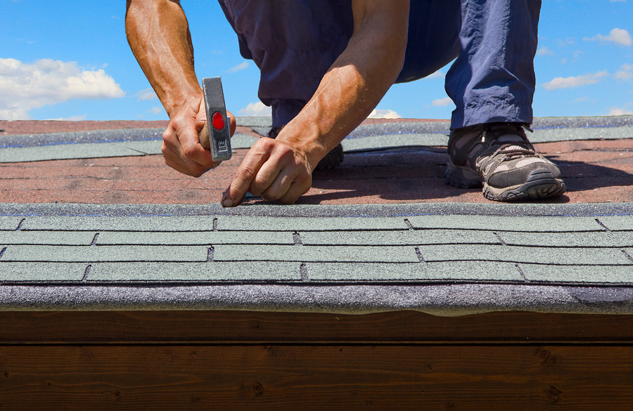 professional roofing contractor roofers installing shingle roof