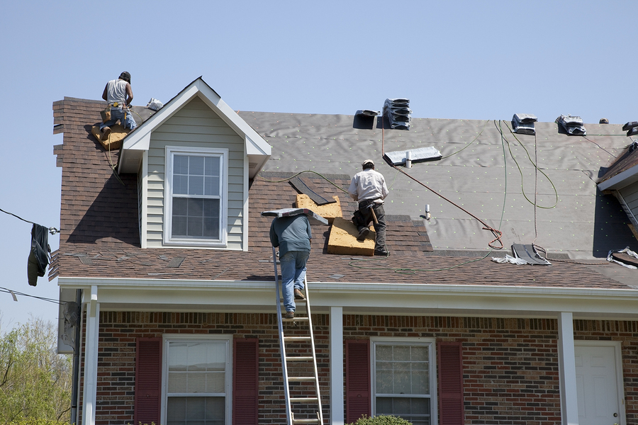 professional roofing contractor roofers working on shingle roof